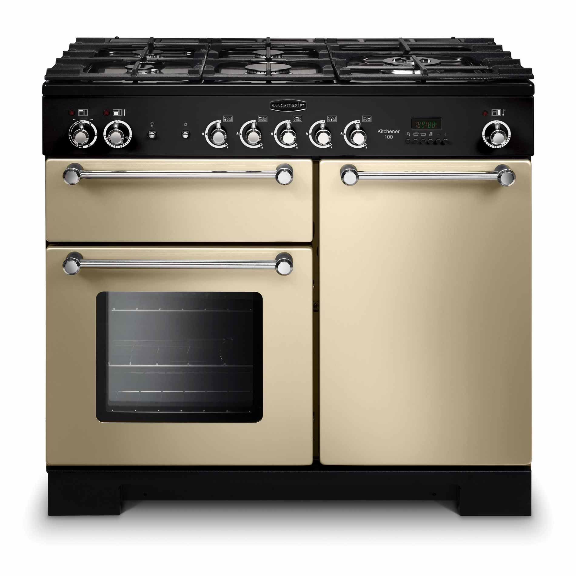 picture of kitchener 100 dual fuel cream range cooker rangemaster  kitchener 100 dual fuel cream range cooker      rh   appliance source co uk