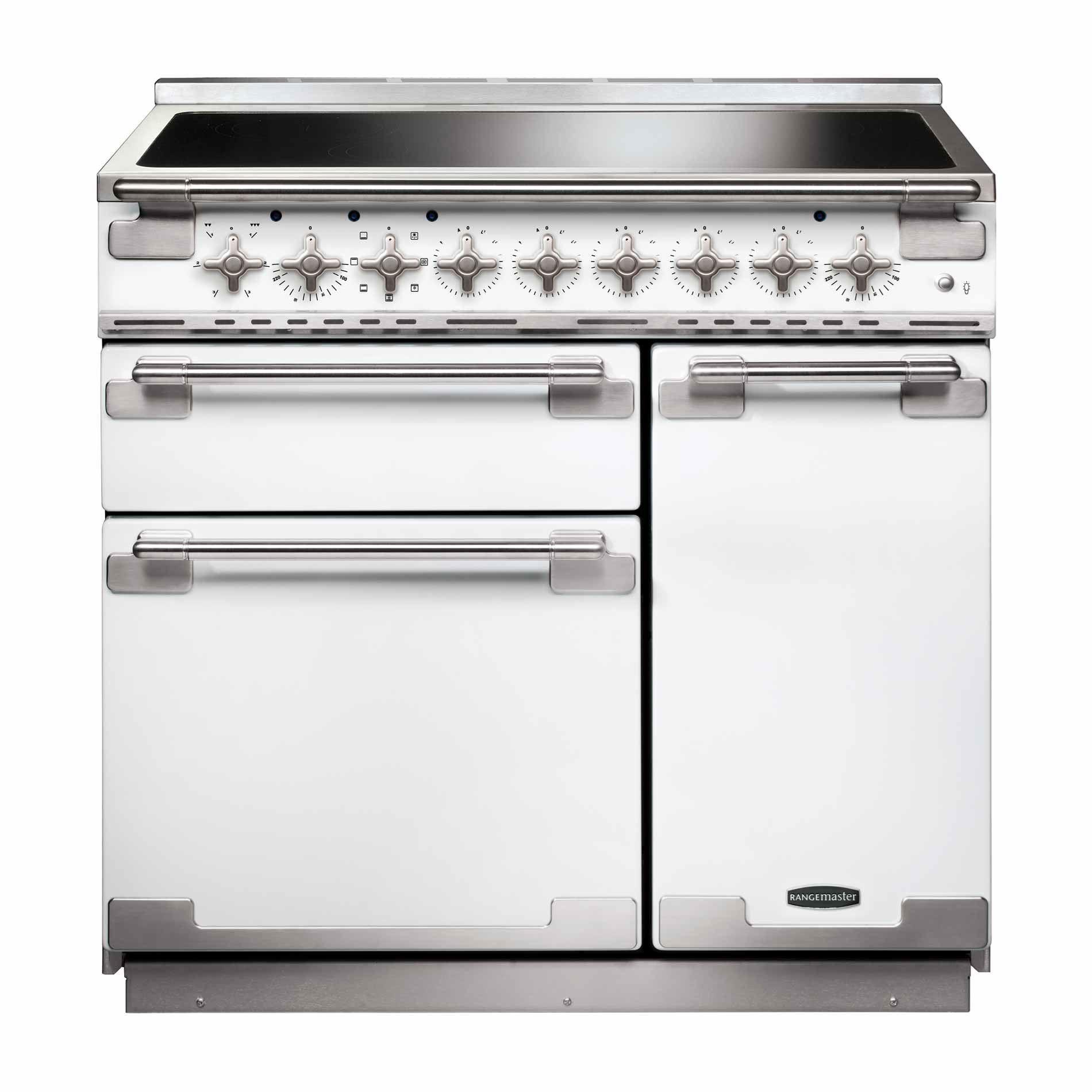 Rangemaster: Elise 90 Induction White Range Cooker - Appliance Source