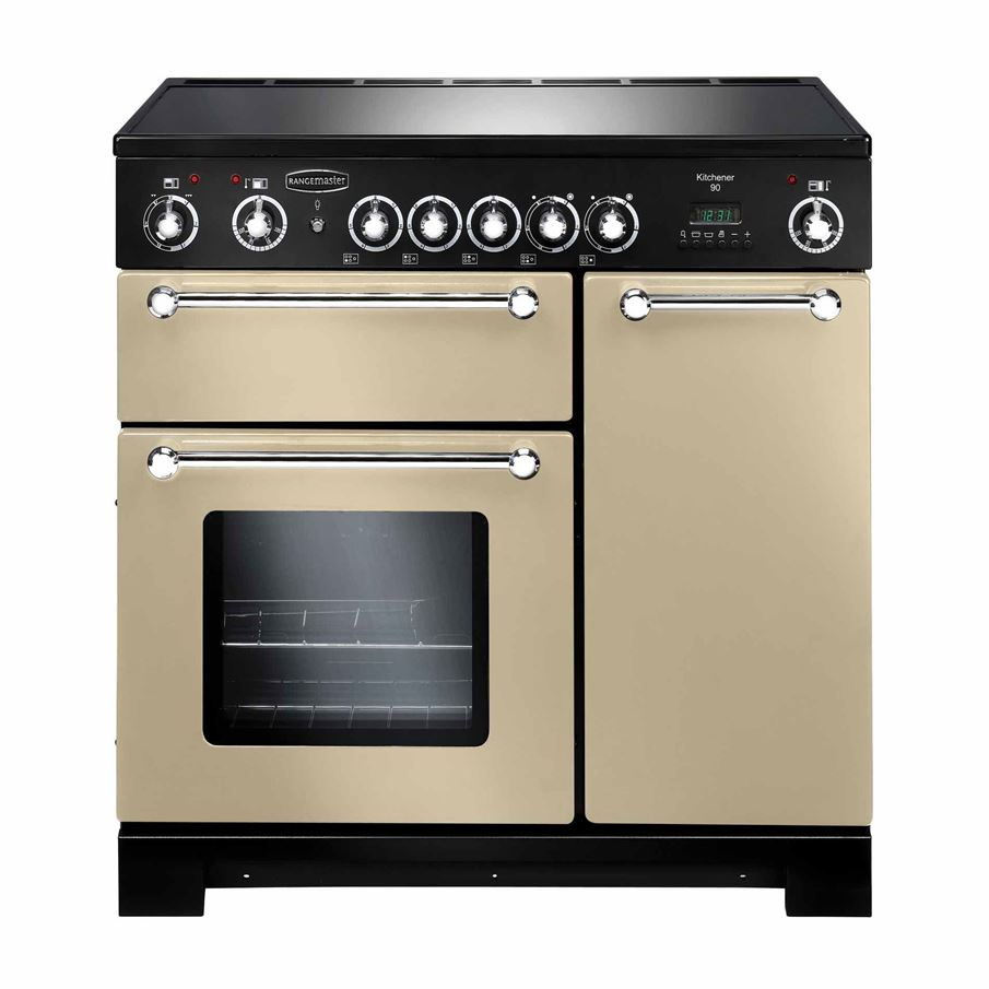 Rangemaster kitchener 90 ceramic cream range cooker appliance source - Falcon kitchener 90 inox ...