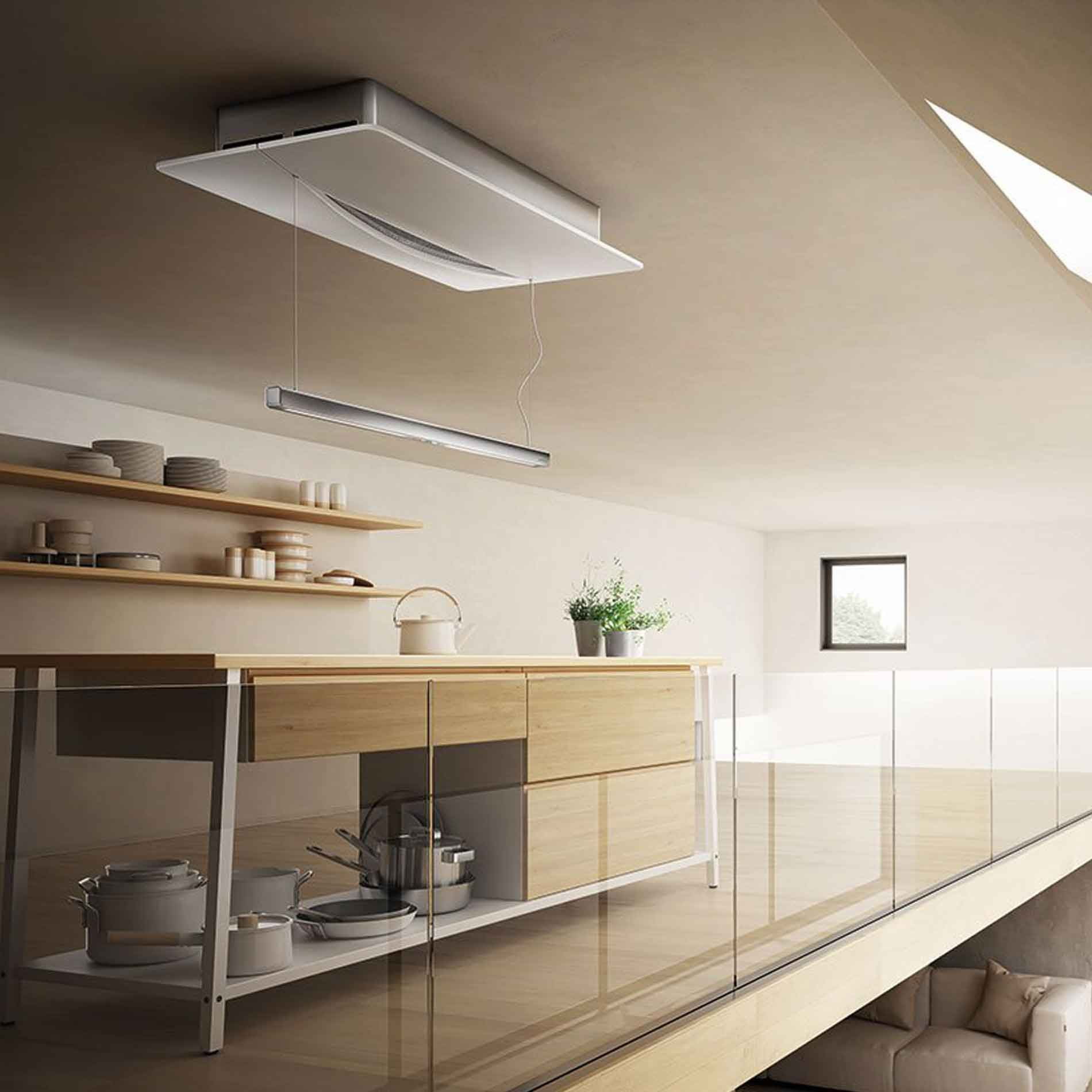 elica: empty sky techne ceiling hood - re-circulating - appliance