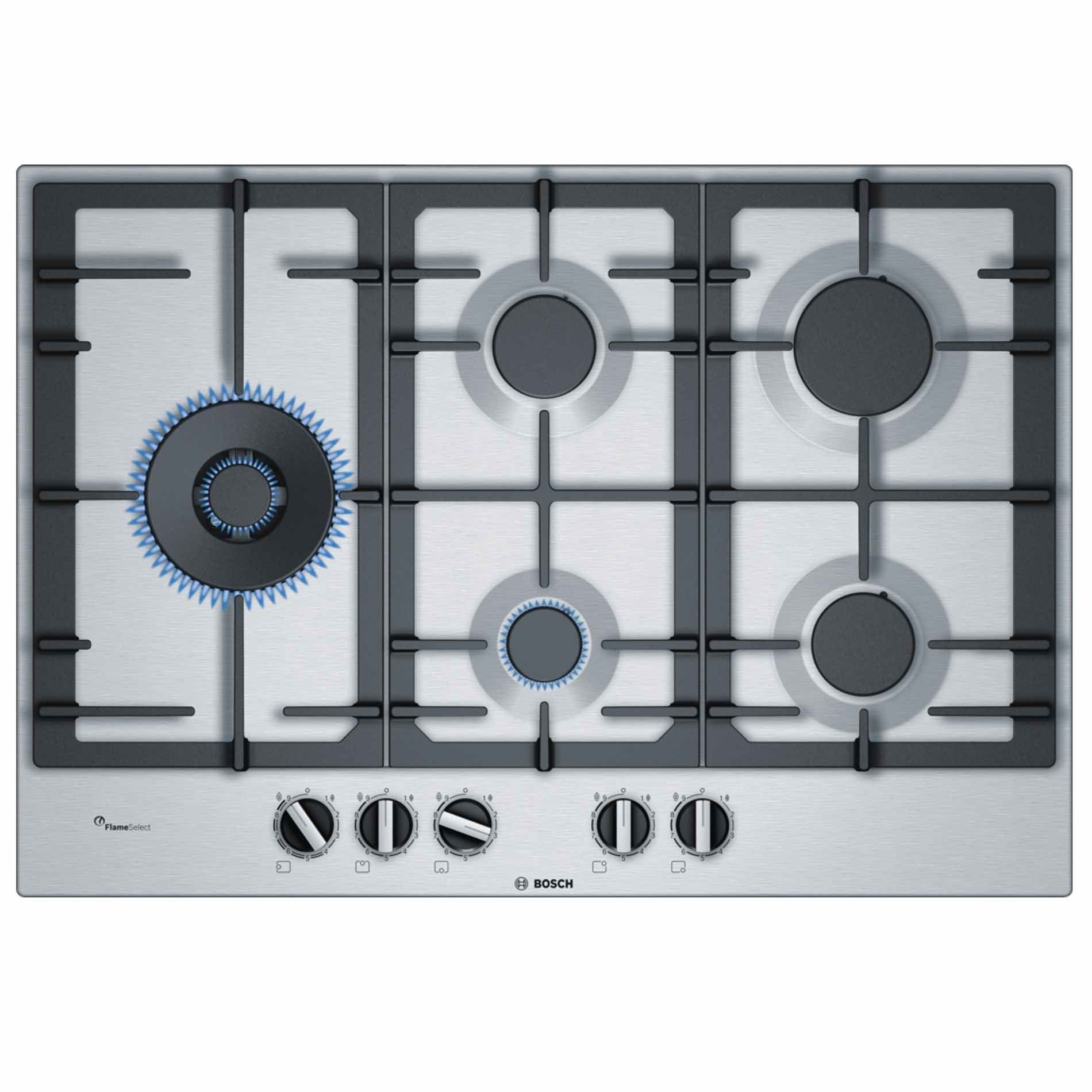 bosch pcs7a5b90 series 6 75cm gas hob stainless steel appliance source. Black Bedroom Furniture Sets. Home Design Ideas