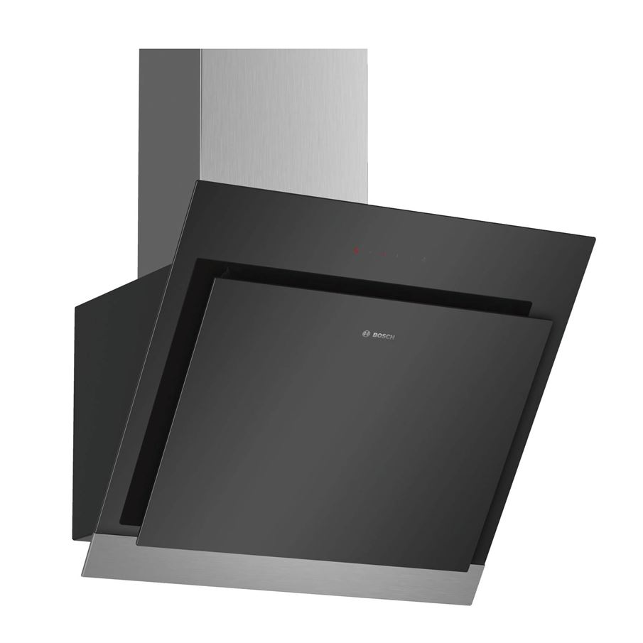 bosch dwk67hm60b angled black chimney hood appliance source. Black Bedroom Furniture Sets. Home Design Ideas