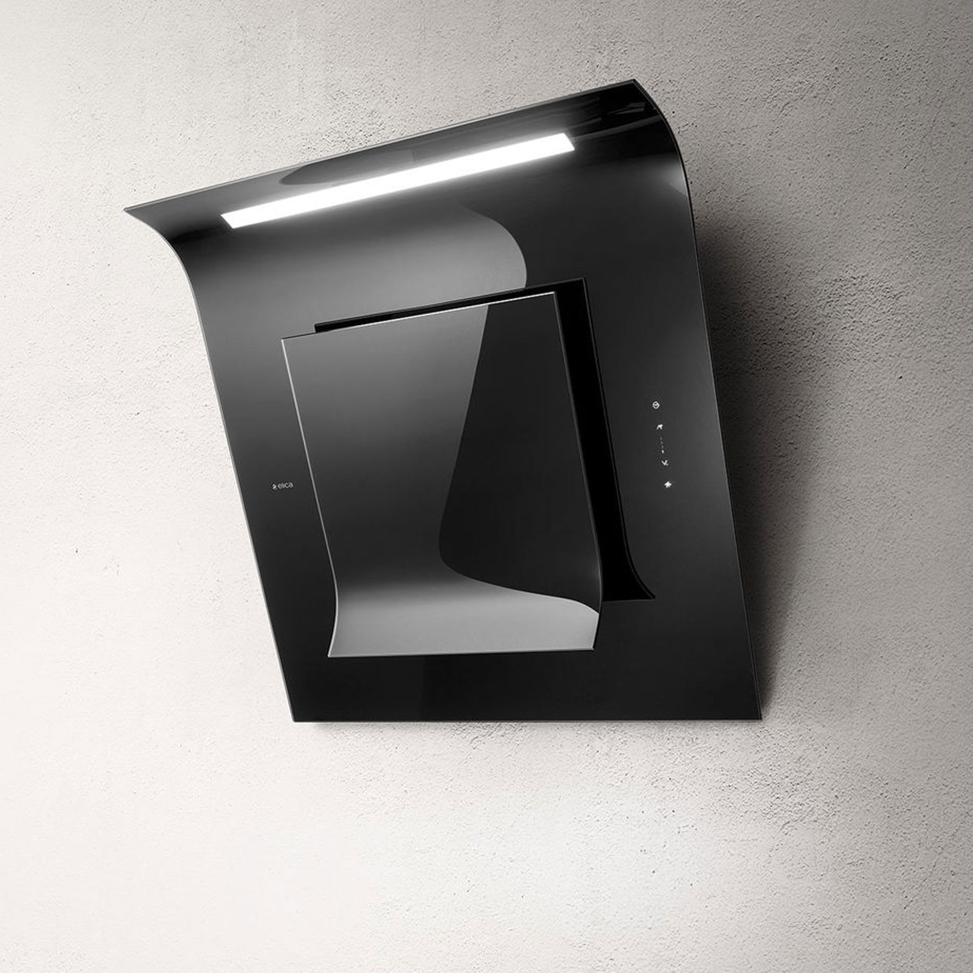 Picture of Leaf Black Glass Cooker Hood